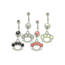 Dangle Brass Knuckles Belly Ring with Cz Gems 14G
