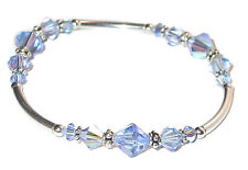 LIGHT SAPPHIRE BLUE Crystal Bracelet Sterling Silver Stretch Swarovski Elements