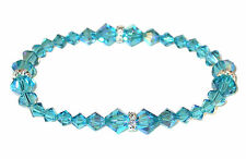 INDICOLITE TEAL Crystal Stretch-on Bracelet Swarovski Elements