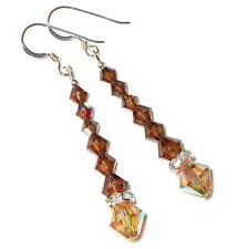SWAROVSKI Elements CRYSTAL EARRINGS Long Dangle 2-tone TOPAZ BROWN