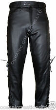 BLACK LACE SIDED LEATHER MOTORBIKE BIKER JEANS TROUSERS
