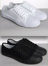 WHITE OR BLACK PLIMSOLLS PLIMSOLES PLIMSOLS RUBBER TOE LACE UP NEW CASUAL FLATS