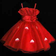 Kids Reds Christening Communion Pageant Flowers Girls Dresses Age 2-3-4-5-6-7-8Y