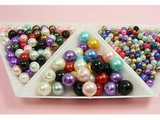 Round Glass PEARL BEADS 4mm x 200 / 6mm x 100 / 8mm x 50 ~Loose Assorted~