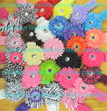 Crochet Headbands with Daisy Flower clips hair bows baby girl free shipping