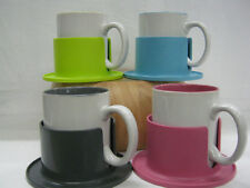 DRINK DOCK WITH COLOUR COORDINATED MUG IN PINK, BLUE, GREY AND GREEN