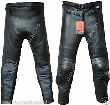 Motorbike Motorcyle 100% Genuine Real Leather Trousers Jeans - CE Armoured