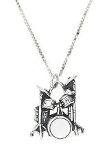 STERLING SILVER DRUMMER'S DRUM SET CHARM WITH BOX CHAIN NECKLACE