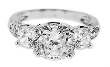 Sterling Silver 5 Ct. CZ Cushion Cut Past Present Future Wedding Engagement Ring