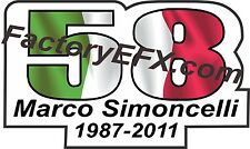 Marco Simoncelli Memorial Decal Sticker Gilera Motorcycle Hi-Quality Italy flag