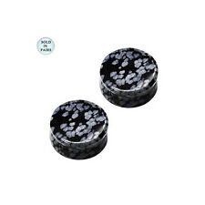 Black with White Spots Obsidian Stone Ear Plugs Saddle Fit Double Flared Gauges