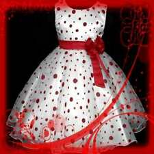 R3117 AS US FX Reds Dotted Christmas Wedding Party Girls Dress SIZE 3-4-5-6-7-8Y