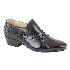 New Montecatini Mens Black Cuban Heeled Leather Formal Dress Shoes Size 6-12 UK