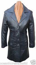 Ladies Long 3/4 Quarter Knee Length Soft Black Smart Leather Jacket Coat