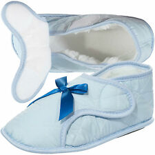 Womens Blue Edema Velcro Slipper for Swollen Feet-Opens Fully Size: S-M-L-XL