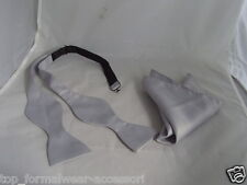 SILVER Self-tie Bow tie and Hankie Set + Instr.-*The More U Buy>The More U Save*