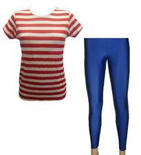 Red & White Striped T-Shirt, Top, Royal Blue Leggings Fancy Dress Size 8-22