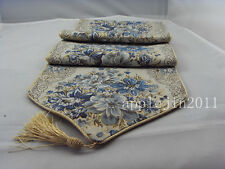 "Silk Gold Blue Floral  Embroidery Tassel  Bed Decor Table Runner 11""x70""82NEW"