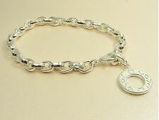 925 STERLING SILVER Filled 20cm SMOOTH Link Chain BRACELET fits Clip On Charm