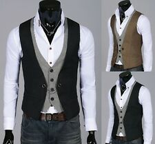 Mens Stylish Double Layered Button Chained Waistcoats Vest 2color, S~L size