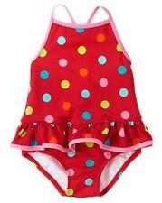 NWT Gymboree Winter Penguin Polka Dot One-Piece Swimsuit Girls Swimwear NEW Red