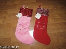 HELLO KITTY PINK OR RED VELVET CHRISTMAS STOCKING WITH SEQUINS~NWT