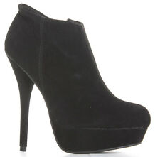 Ladies Womens Black Suede High Heels Platform Shoes Ankle Boots Size 3 4 5 6 7 8