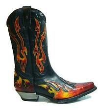 NEWROCK New Rock West 7921-S2 Cowboy Leather Black Red Flame Zip Boots