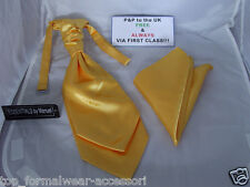 Shiny NEON Gold MENS Ruche Tie-Cravat and Hankie Set-More U Buy >The More U Save