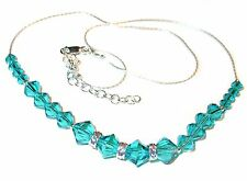 BLUE ZIRCON Teal Crystal Necklace Sterling Silver Swarovski Elements