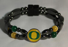 U of O, OREGON DUCKS, Magnetic Hematite, Magnetic Clasp, two strand Bracelet