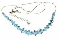 AQUAMARINE BLUE Crystal Necklace Sterling Silver Swarovski Elements
