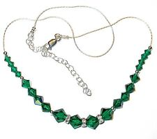EMERALD GREEN Necklace SWAROVSKI CRYSTAL Elements Sterling Silver