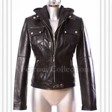 Ashley Black Ladies New Material Hooded Leather Jacket