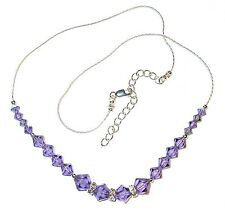 Handcrafted TANZANITE PURPLE Crystal NECKLACE Sterling Silver Swarovski Elements
