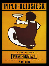 GIRL Glass French Champagne Piper Heidsieck Reims Vintage Poster Repro FREE S/H