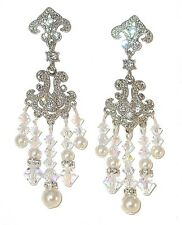 Clear AB Crystal & ANY COLOR PEARL Chandelier EARRINGS Bridal Swarovski Elements