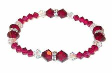 RUBY RED & CLEAR AB Crystal Bracelet SWAROVSKI Elements Stretch-on Bracelet