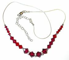 RUBY RED Crystal NECKLACE Sterling Silver Handcrafted Swarovski Elements