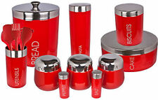 11 PIECE SET RED BELLY IN ACCIAIO INOX & Smalto Cucina Storage cannisters