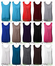 Womens Sleeveless Vest Top Ladies Pleated Gather Long Vest Tee Top UK 8 To 14