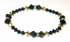 SWAROVSKI CRYSTAL ELEMENTS Stretch-on Bracelet JET BLACK AB & AURUM GOLD