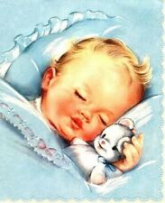 VINTAGE IMAGE OF A SLEEPING BABY BOY FABRIC BLOCK NOT IRON ON YOU CHOOSE SIZE