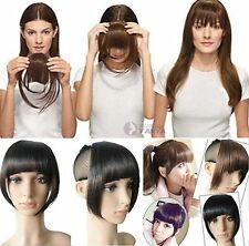 100% Human Hair Bangs fringe flat / sides long / gradient easy clips 3 styles !!