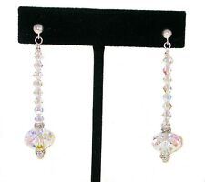 LONG DANGLE EARRINGS Sterling Silver CLEAR AB Crystal 5040 Swarovski Elements