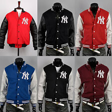 ny7 New york yankees custom logo baseball letterman varsity wool leather jackets