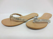 LADIES SPOT ON TOE POST FLAT MULES AVAILABLE IN SILVER AND GOLD F0278