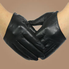 Fashion Sexy 5 Fingers Half Palm Genuine Leather Gloves Silk Lined Black Red