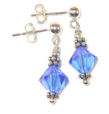 SAPPHIRE Crystal Earrings Sterling Silver SEPTEMBER Birthstone Swarovski Element