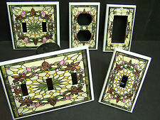 STAINED GLASS STYLE #1 FLEUR DE LIS FLORAL   LIGHT SWITCH OR OUTLET COVER